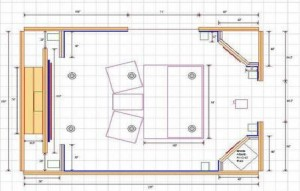 Media Room Design Drawings with Layout Katy